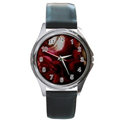 Dark Red Candlelight Candles Round Metal Watch