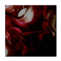 Dark Red Candlelight Candles Tile Coasters