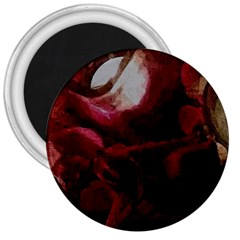Dark Red Candlelight Candles 3  Magnets
