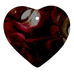 Dark Red Candlelight Candles Ornament (Heart)