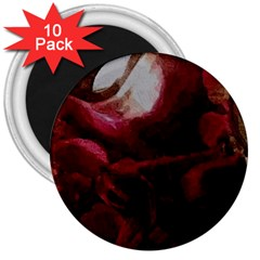 Dark Red Candlelight Candles 3  Magnets (10 pack)