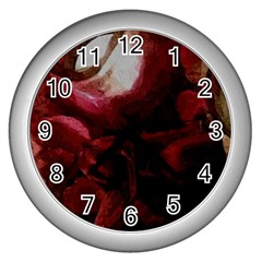 Dark Red Candlelight Candles Wall Clocks (Silver)