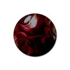 Dark Red Candlelight Candles Rubber Coaster (Round)