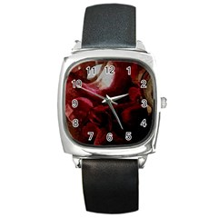 Dark Red Candlelight Candles Square Metal Watch