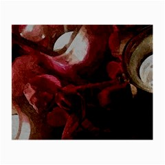 Dark Red Candlelight Candles Small Glasses Cloth