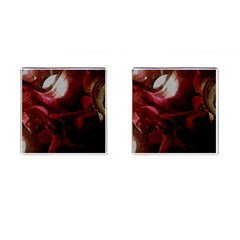 Dark Red Candlelight Candles Cufflinks (Square)