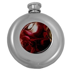 Dark Red Candlelight Candles Round Hip Flask (5 oz)