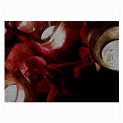 Dark Red Candlelight Candles Large Glasses Cloth (2-Side)