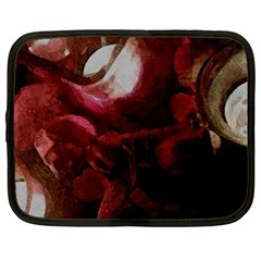 Dark Red Candlelight Candles Netbook Case (XL)