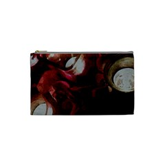 Dark Red Candlelight Candles Cosmetic Bag (Small)