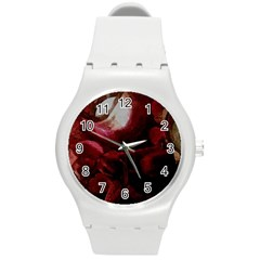 Dark Red Candlelight Candles Round Plastic Sport Watch (M)