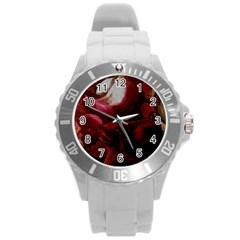 Dark Red Candlelight Candles Round Plastic Sport Watch (L)