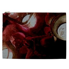 Dark Red Candlelight Candles Cosmetic Bag (XXL)