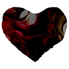 Dark Red Candlelight Candles Large 19  Premium Heart Shape Cushions