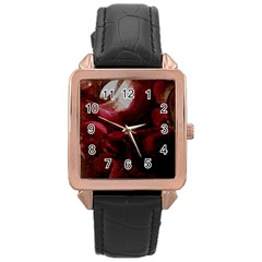 Dark Red Candlelight Candles Rose Gold Leather Watch