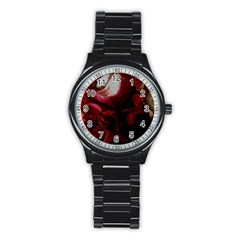 Dark Red Candlelight Candles Stainless Steel Round Watch
