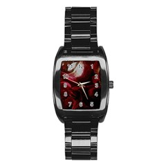 Dark Red Candlelight Candles Stainless Steel Barrel Watch