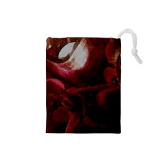 Dark Red Candlelight Candles Drawstring Pouches (Small)