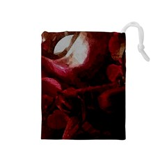 Dark Red Candlelight Candles Drawstring Pouches (Medium)