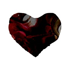 Dark Red Candlelight Candles Standard 16  Premium Flano Heart Shape Cushions