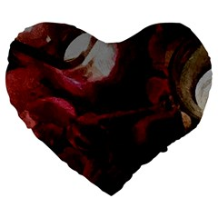 Dark Red Candlelight Candles Large 19  Premium Flano Heart Shape Cushions