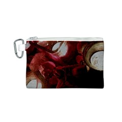 Dark Red Candlelight Candles Canvas Cosmetic Bag (S)