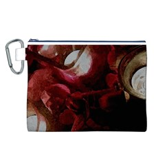 Dark Red Candlelight Candles Canvas Cosmetic Bag (L)