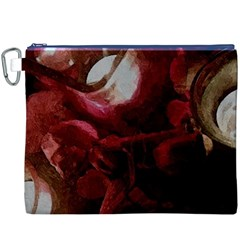 Dark Red Candlelight Candles Canvas Cosmetic Bag (XXXL)