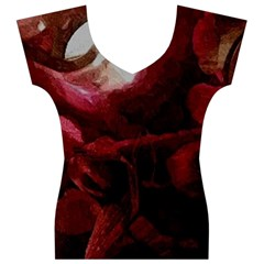 Dark Red Candlelight Candles Women s V-Neck Cap Sleeve Top