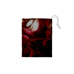 Dark Red Candlelight Candles Drawstring Pouches (XS)
