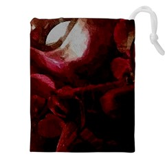 Dark Red Candlelight Candles Drawstring Pouches (XXL)
