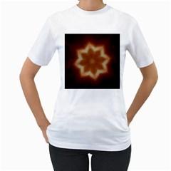 Christmas Flower Star Light Kaleidoscopic Design Women s T-Shirt (White) (Two Sided)