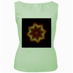 Christmas Flower Star Light Kaleidoscopic Design Women s Green Tank Top