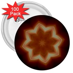 Christmas Flower Star Light Kaleidoscopic Design 3  Buttons (100 pack)