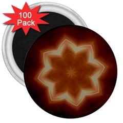 Christmas Flower Star Light Kaleidoscopic Design 3  Magnets (100 pack)