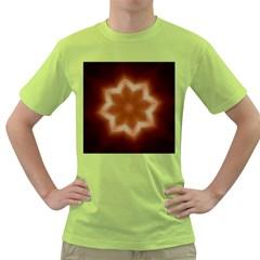 Christmas Flower Star Light Kaleidoscopic Design Green T-Shirt