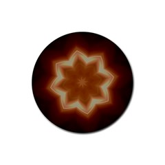 Christmas Flower Star Light Kaleidoscopic Design Rubber Round Coaster (4 pack)