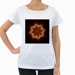 Christmas Flower Star Light Kaleidoscopic Design Women s Loose-Fit T-Shirt (White)