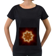 Christmas Flower Star Light Kaleidoscopic Design Women s Loose-Fit T-Shirt (Black)