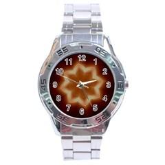 Christmas Flower Star Light Kaleidoscopic Design Stainless Steel Analogue Watch