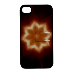 Christmas Flower Star Light Kaleidoscopic Design Apple iPhone 4/4S Hardshell Case with Stand