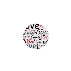 Love pattern - red 1  Mini Magnets