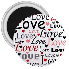 Love pattern - red 3  Magnets