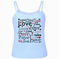 Love pattern - red Baby Blue Spaghetti Tank