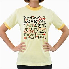 Love pattern - red Women s Fitted Ringer T-Shirts