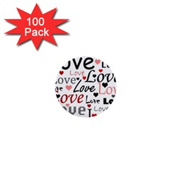 Love pattern - red 1  Mini Buttons (100 pack)