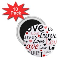 Love pattern - red 1.75  Magnets (10 pack)