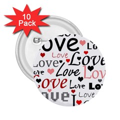 Love pattern - red 2.25  Buttons (10 pack)