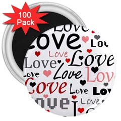 Love pattern - red 3  Magnets (100 pack)