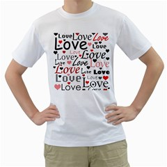 Love pattern - red Men s T-Shirt (White) (Two Sided)
